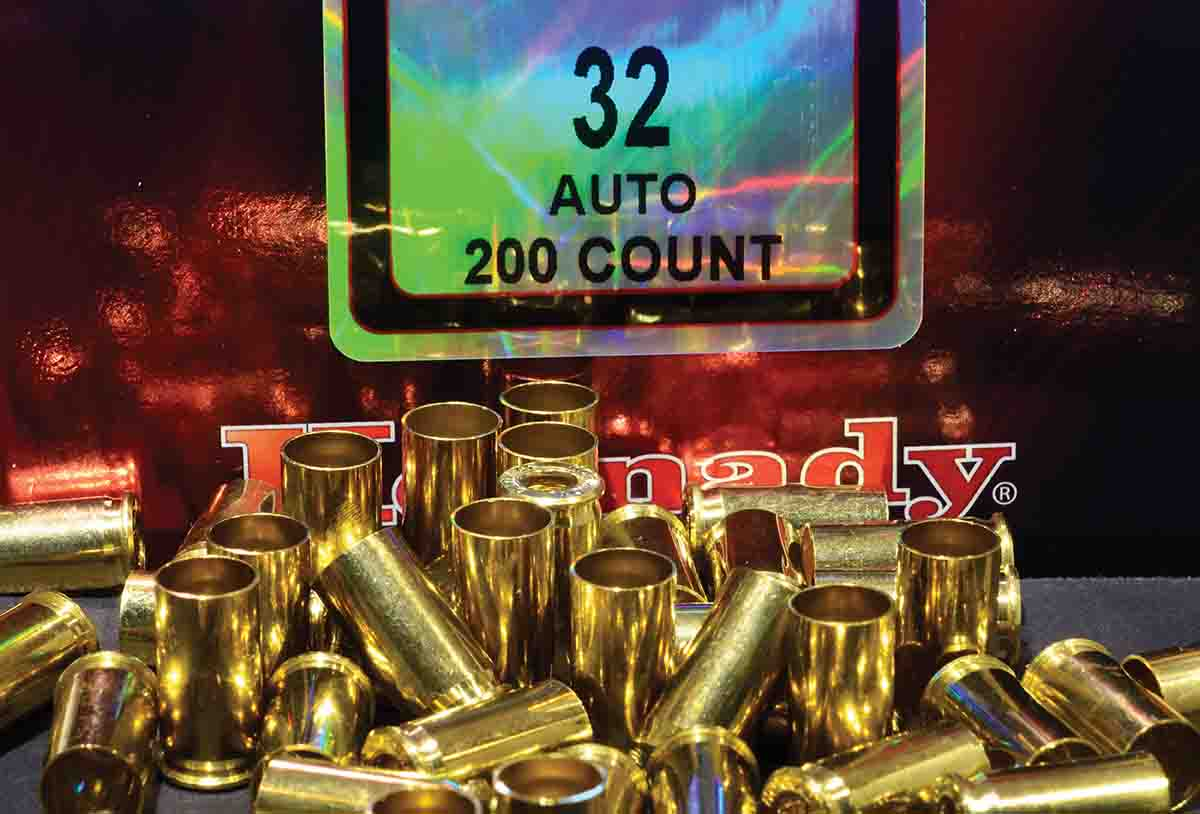Good commercial brass, such as Hornady, is much easier to work with than reclaimed brass of unknown origin. Many companies make .32 ACP ammunition, but the brass can vary in primer pocket depth and flash hole diameter, among other things, and requires careful handling.