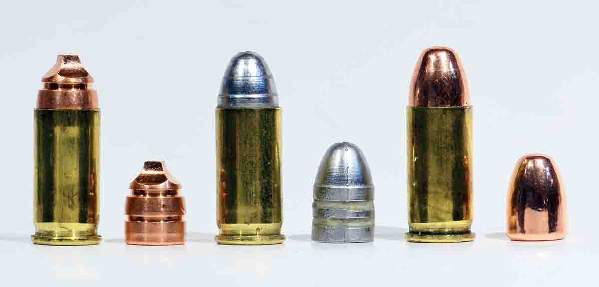 Different bullets, different overall lengths. From left: ultra-modern Lehigh 50-grain Xtreme Cavitator, ultra-old cast bullet (68 grains, from Lyman mould number 311227) and a Berry's 71-grain copper-plated cast bullet.