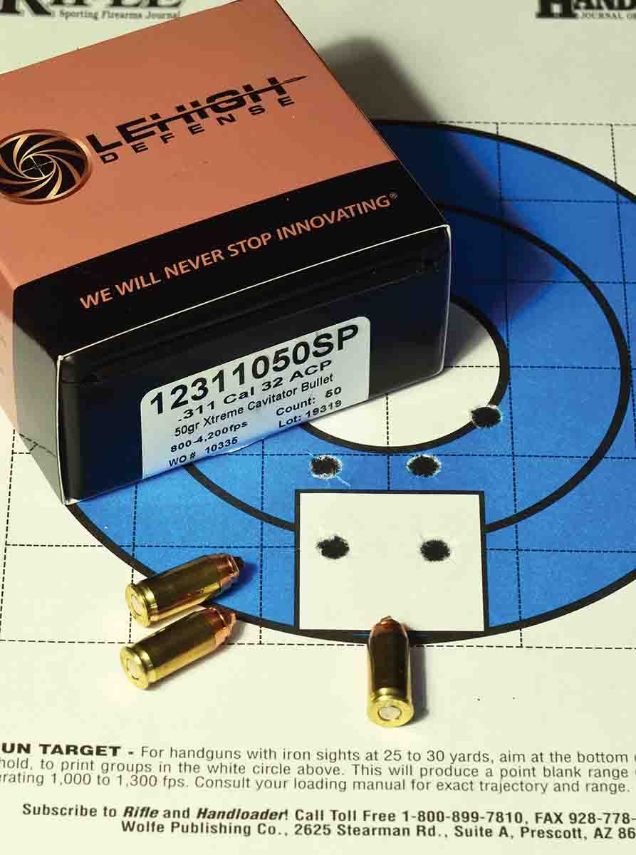 At 50 grains, the Lehigh Xtreme Cavitator is light for the .32 ACP, but its novel nose configuration allows it to punch a hole like a wadcutter. It's also very accurate. The aimpoint at 10 yards was the base of the white square where the cartridge is pointing.