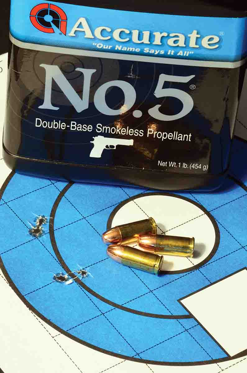 Accurate No. 5 delivered the best overall group at 1.4 inches, but it was far from the aimpoint, and using a pistol without adjustable sights. In other guns, it might put its group right where you want it.
