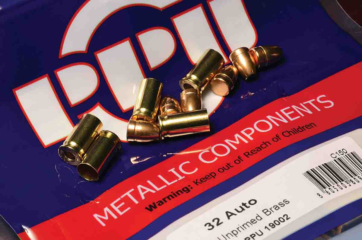 PrviPartizan (PPU) components from Serbia are high quality, but they have their idiosyncrasies. In .32 ACP, the bullets are .308-inch compared to the more common .311/312 inch found in American- made bullets. PPU brass has an inside mouth  dimension of .306 inch compared to Hornady's .310, so PPU bullets do not work well in the latter. Matching bullets to brass  is important.