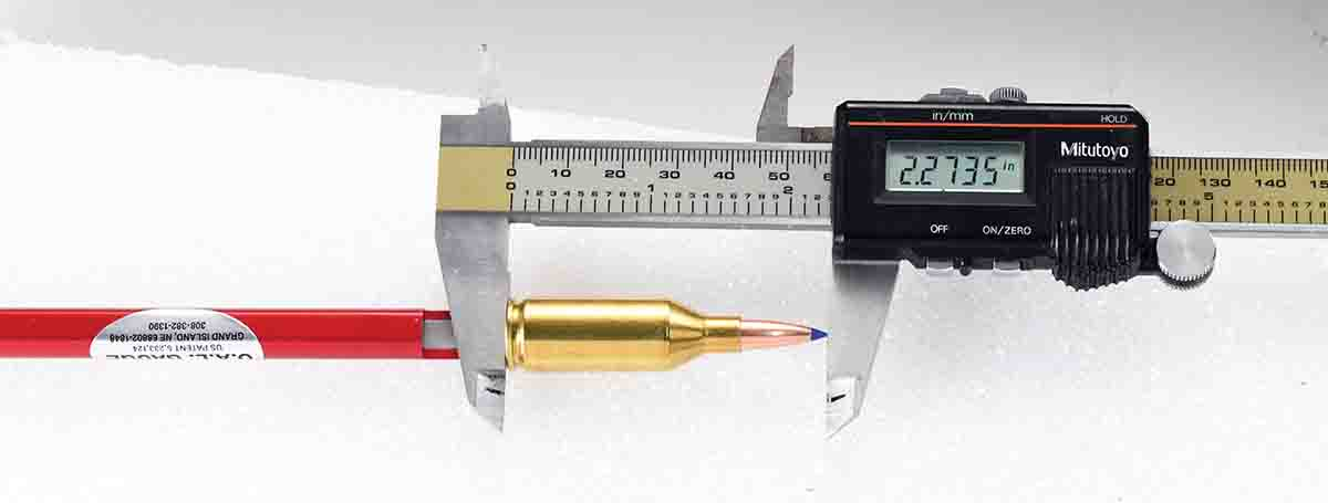 The gauge has a cutout in the push rod sleeve at the base of the case to accept the jaw of a caliper for measuring.