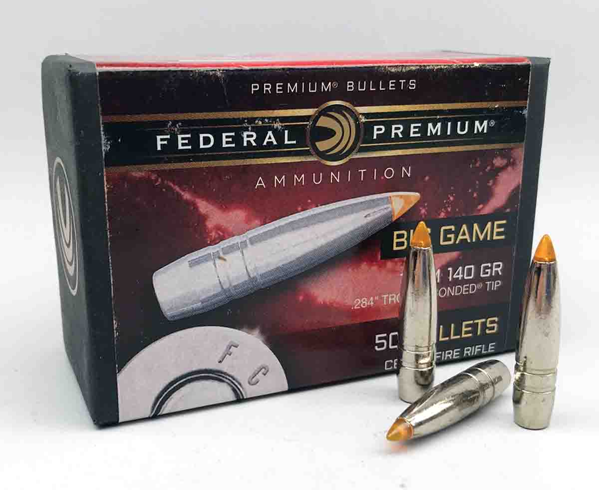 Federal Trophy Bonded Tip bullets have similar relief grooves as those on Federal Ascent bullets.