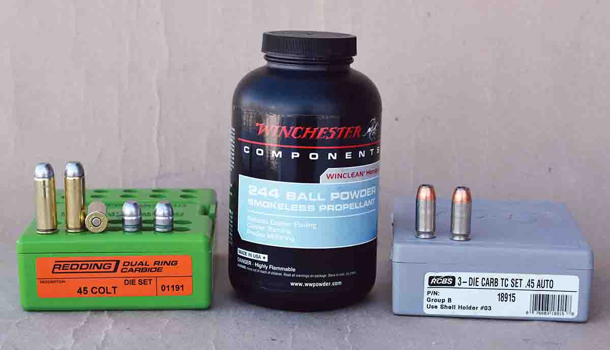 Winchester W-244 powder is an excellent choice when loading for the .45 ACP and .45 Colt.