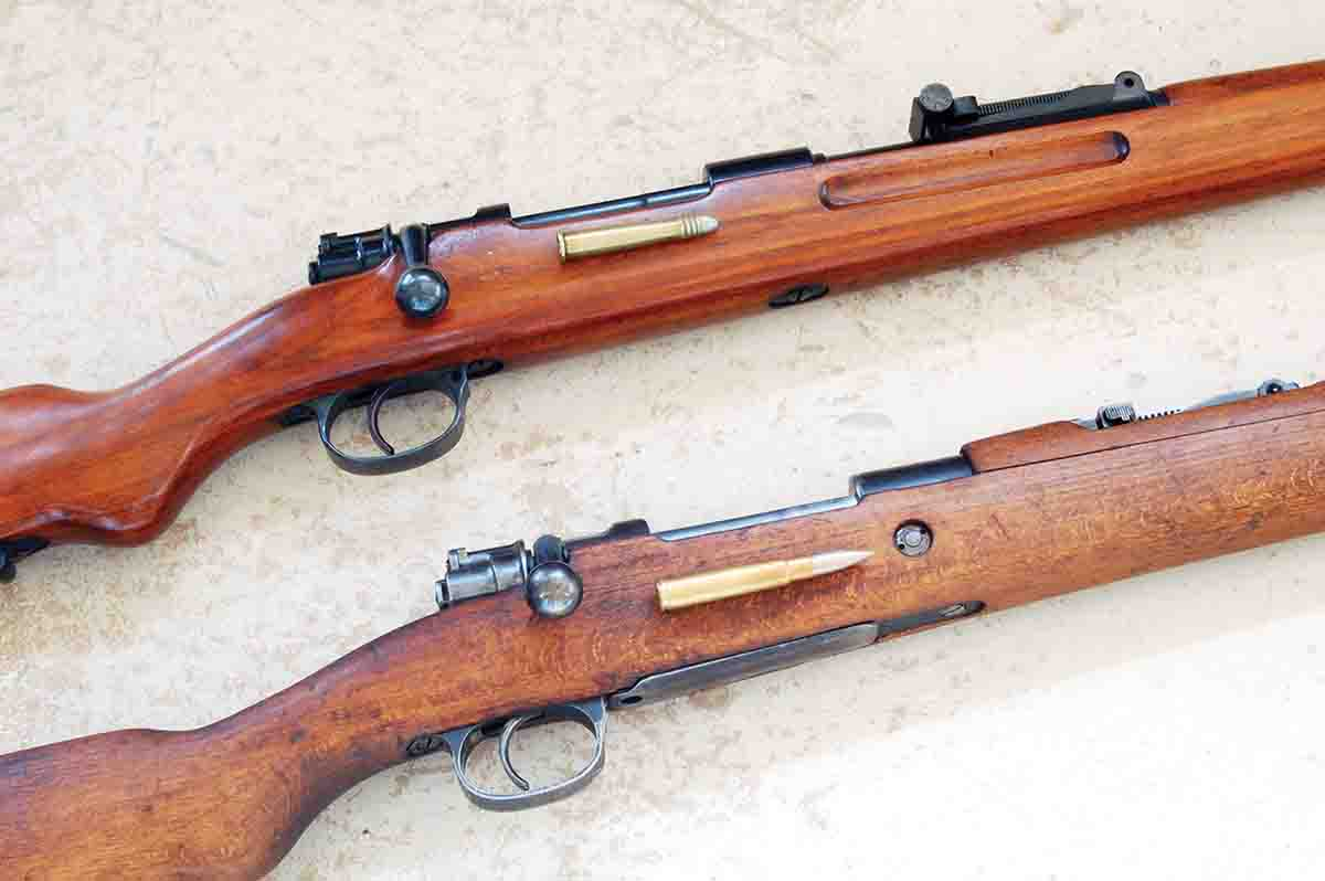 The Mauser M98 8.15x46R (top) is the same as the M98 8x57 (bottom) except for the chamber, rear sight and being a single shot.