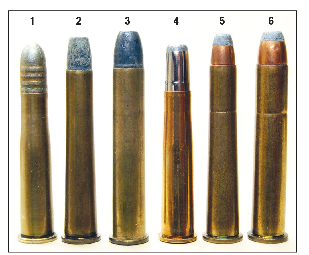 Premier target cartridges of the 1895-1920 period include: (1) German 8.15x46R, (2) American .32-40 and (3) .38-55 with lead bullets, and the same cartridges (4, 5 and 6) with jacketed hunting bullets.