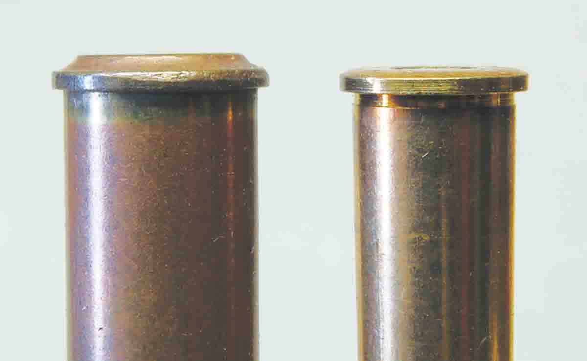 The first German target cartridges (left) used the A-base case. The 8.15x46R (right) used a normal rimmed case.