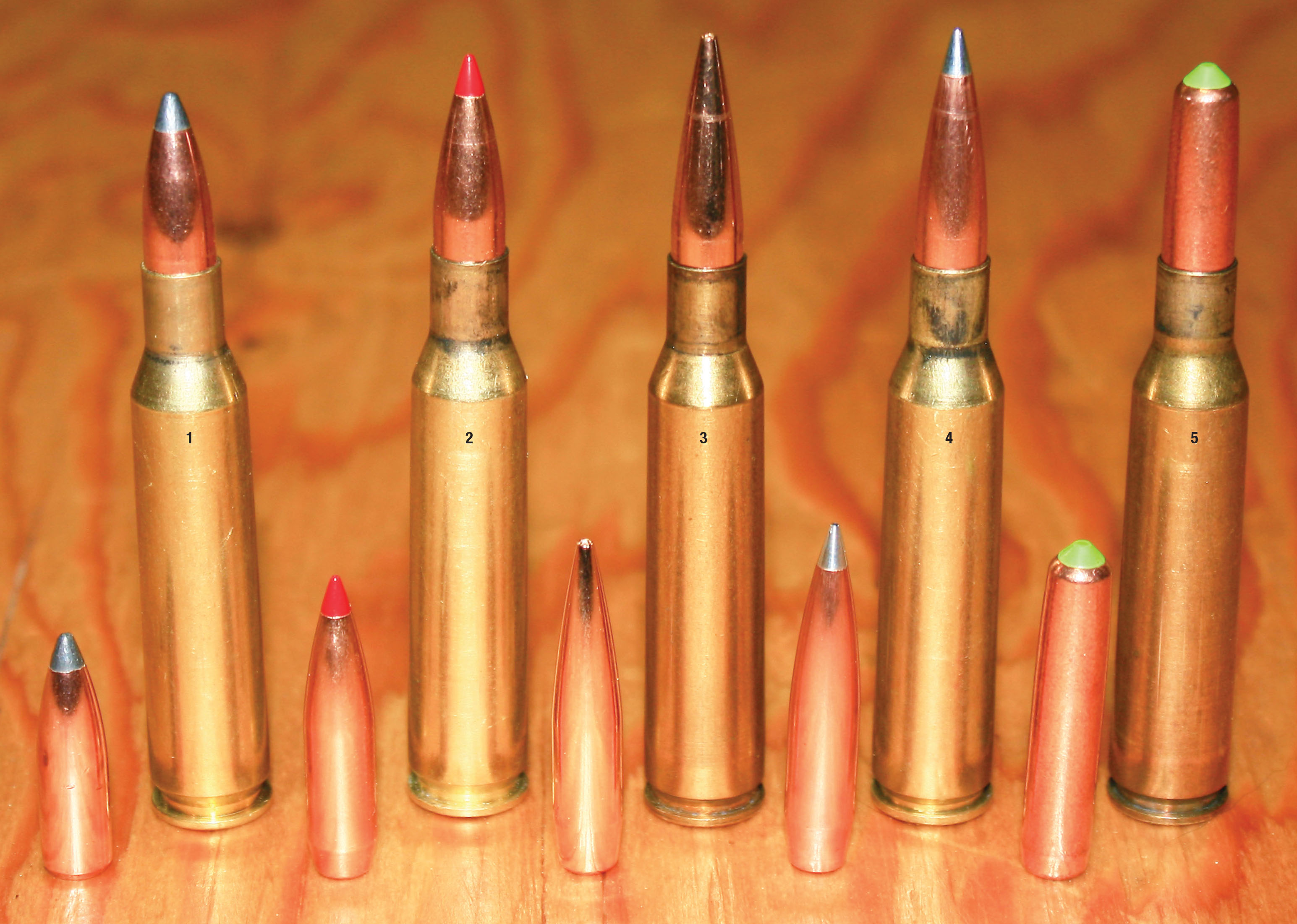 Bullets selected for testing the 6.5x57mm Mauser included the (1) Nosler 100-grain Partition, (2) Hornady 120-grain ELD Match, (3) Berger 130-grain VLD Hunting, (4) Hornady 135-grain A-Tip and the (5) Lapua 140-grain CEX Naturalis.