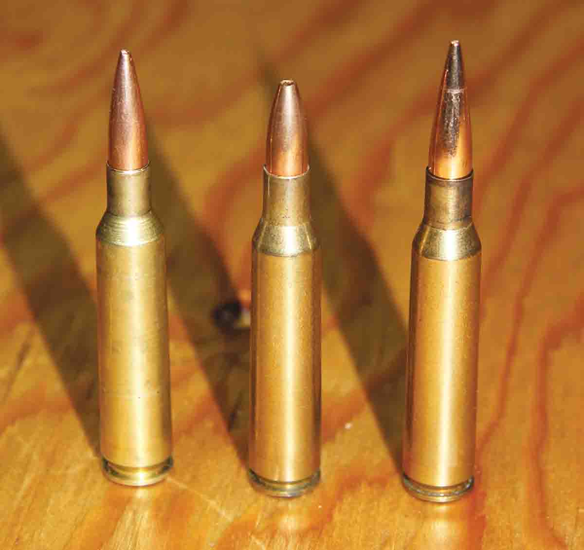Brass for the 6.5x57mm Mauser is easily made from 6mm Remington, (left) and .257 Roberts (middle). The 6.5x57mm (right) is shown for comparison.