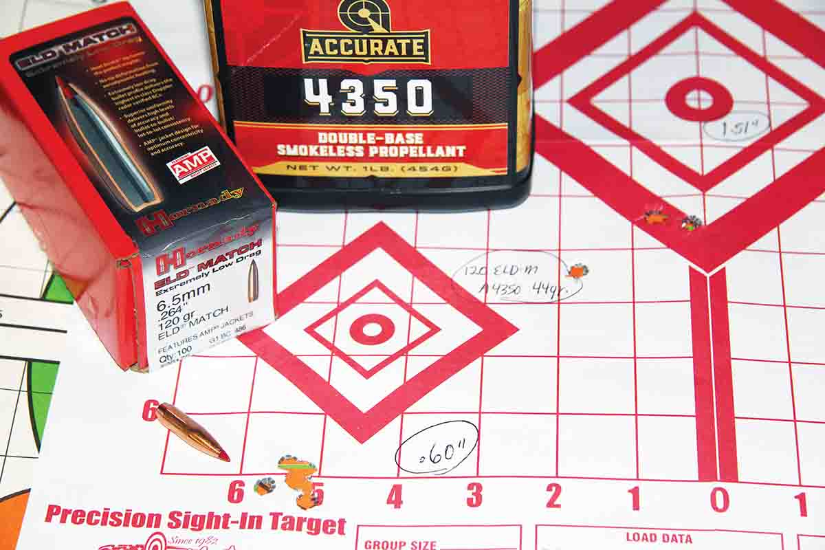 Hornady's streamlined 120-grain ELD Match paired well with 44 grains of A-4350 powder and produced a .60-inch group  at 2,599 fps.
