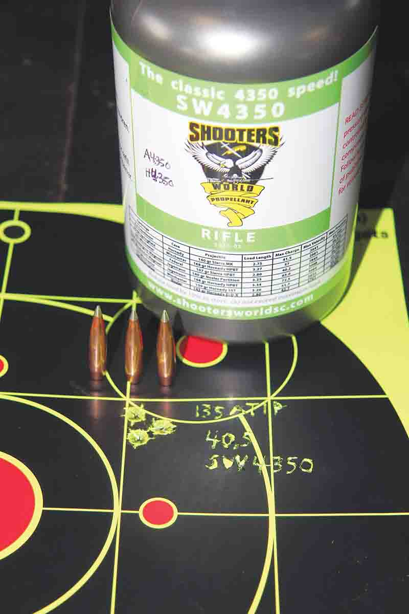 Shooters World 4350 was added late in testing. Running short on primers, three-shot groups were required; 40.5 grains resulted in this .43-inch group.