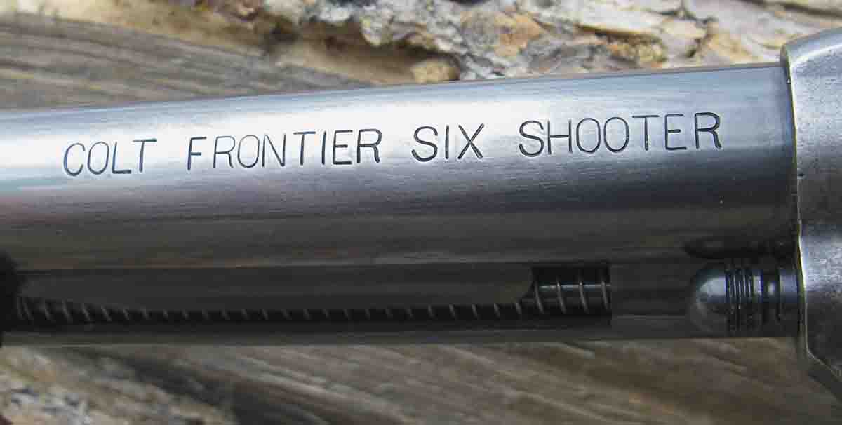 "The ""COLT FRONTIER SIX SHOOTER"" indicated that a revolver was chambered in .44 WCF (aka .44-40 Winchester)."