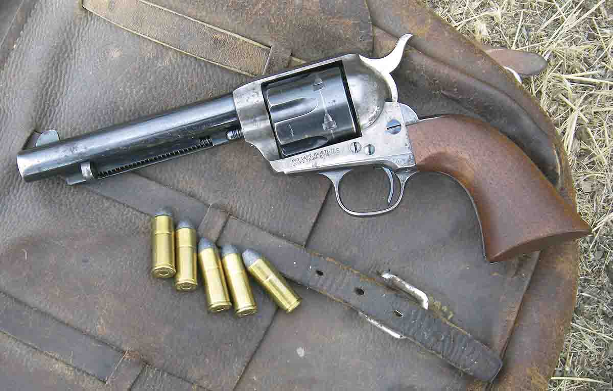 "This ""US"" Colt SAA revolver probably saw action at San Juan Hill beside Teddy Roosevelt. Brian still uses this 118-year-old sixgun and has found it unusually accurate. One can nearly ""feel"" the history associated with a ""US"" marked Colt SAA revolver."