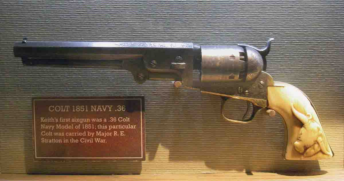 This engraved Colt Model 1851 Navy saw use in the Civil War and was used by Elmer Keith.