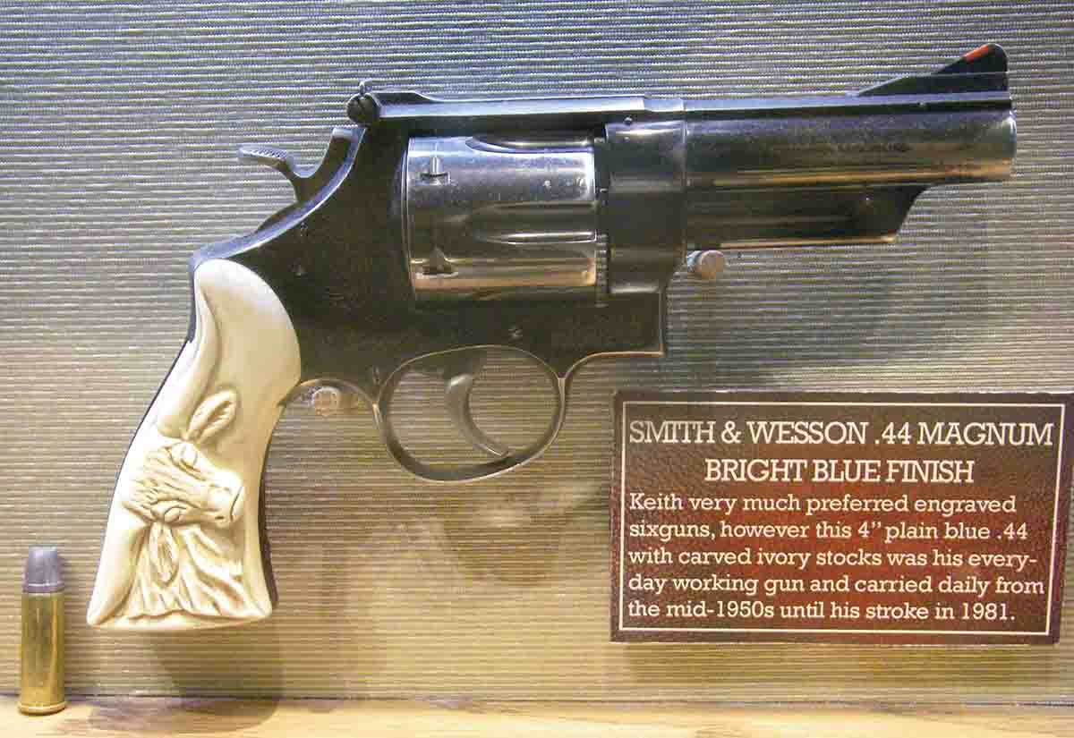 "This was Keith's everyday ""working"" Smith & Wesson .44 Magnum with a 4-inch barrel and fitted with carved ivory stocks."