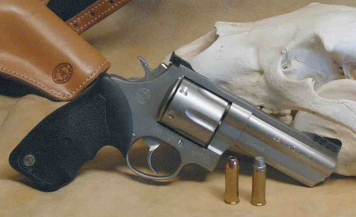 Though more powerful revolver rounds have appeared in the 50 years since the .44 Magnum was born, it is still about as much gun as the average handgunner can handle, the reason .44s, like this Taurus, are popular sidearms in bear country.