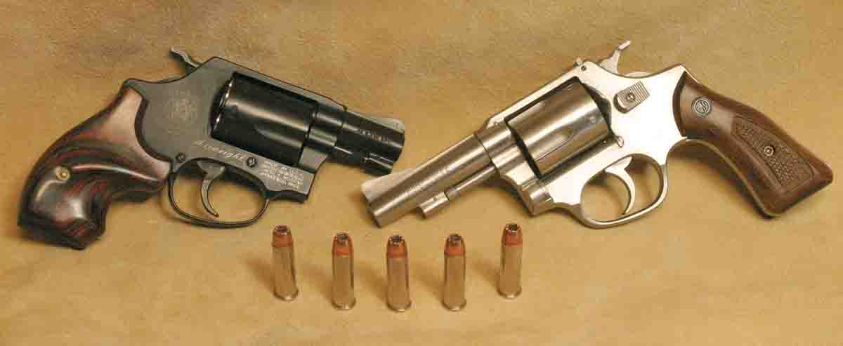 The .38 Special is still the most popular cartridge for small self-defense revolvers, like this S&W Airweight and 3-inch Rossi, usually featuring five-shot cylinders.