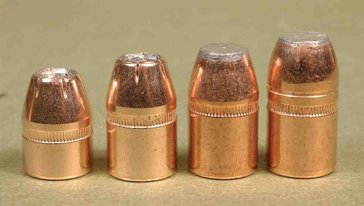 If you like to shoot jacketed bullets in the .44, they're available in weights from 200 to 300 grains. From the left, bullets include the Hornady 200-grain XTP, Hornady 240-grain XTP, Speer 270-grain Gold Dot and Speer 300-grain softpoint.
