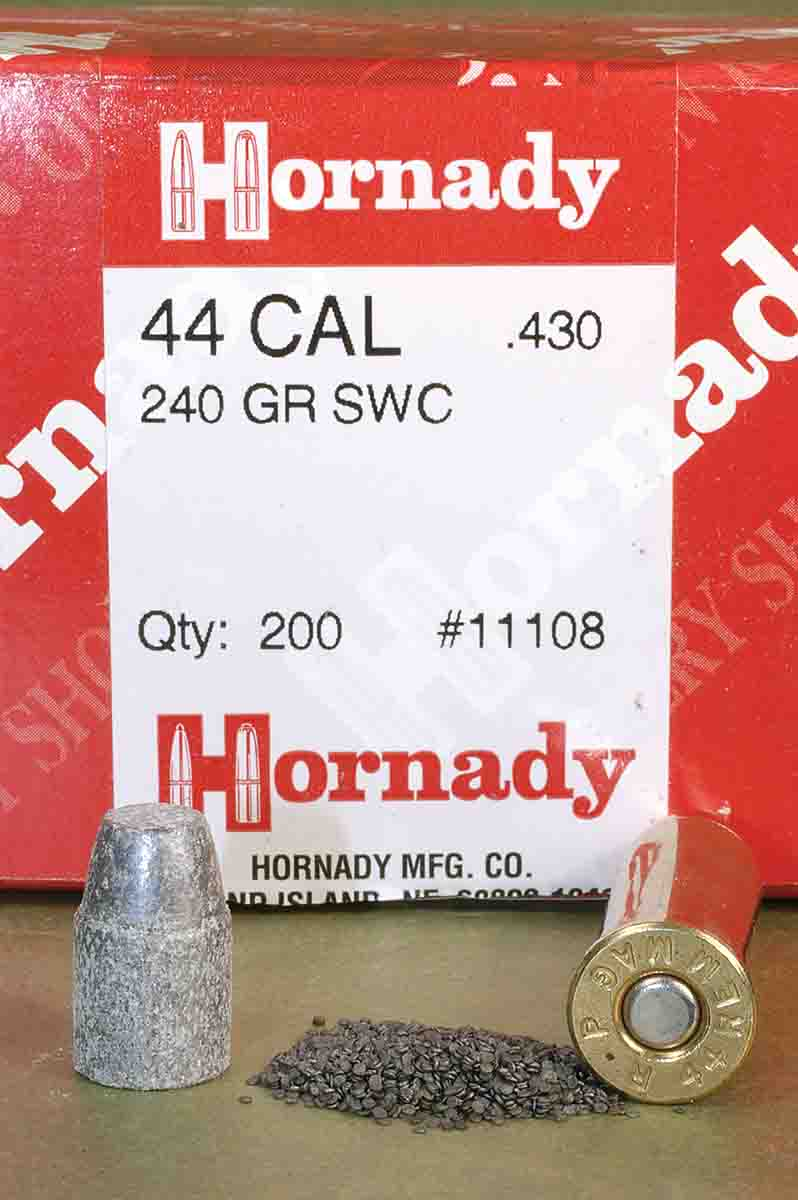 A 240-grain swaged lead bullet makes a nice target bullet in the .44.
