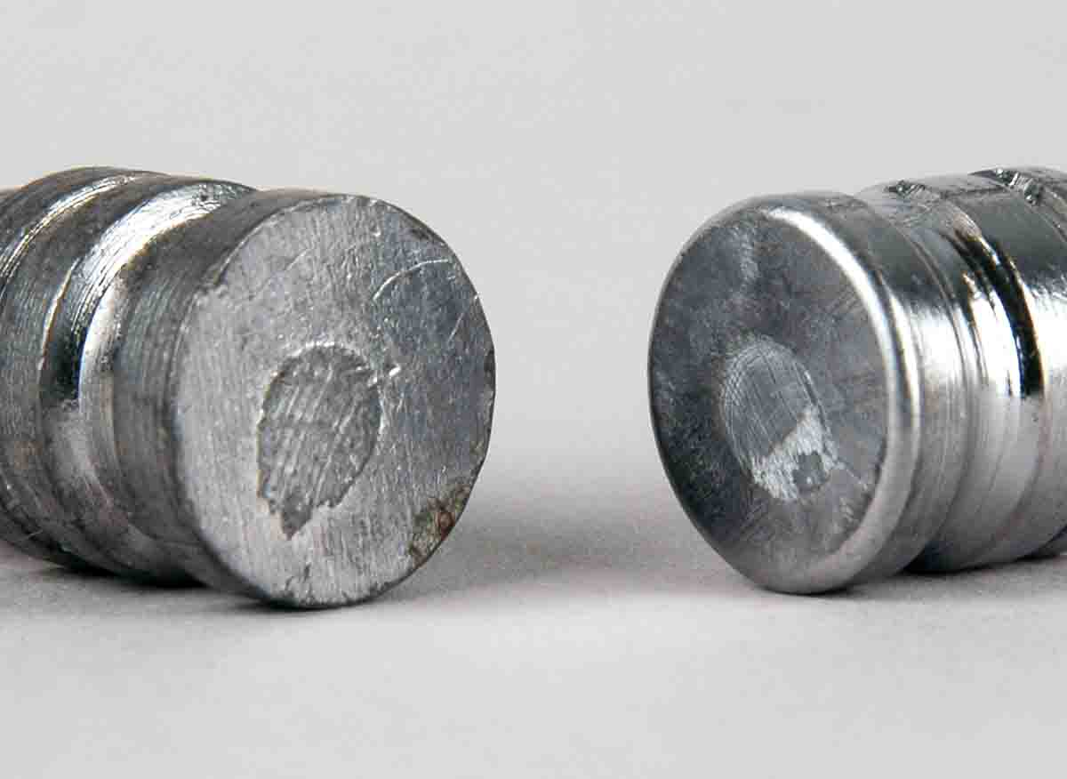 These bullets illustrate the difference between a perfect base and a rounded one.
