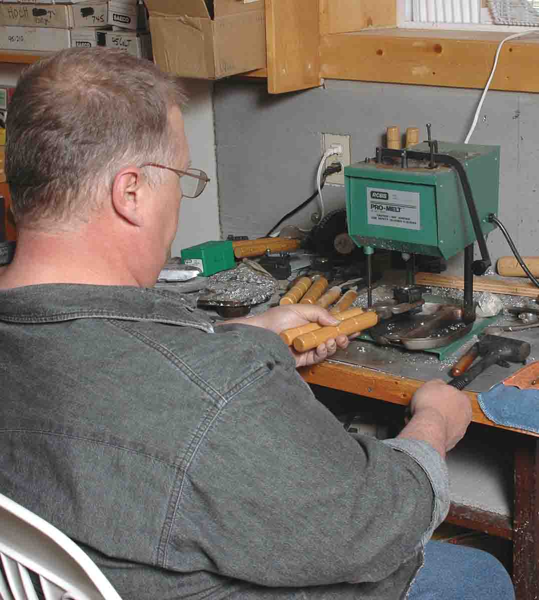 Mike casts handgun bullets using a bottom pour electric lead furnace.