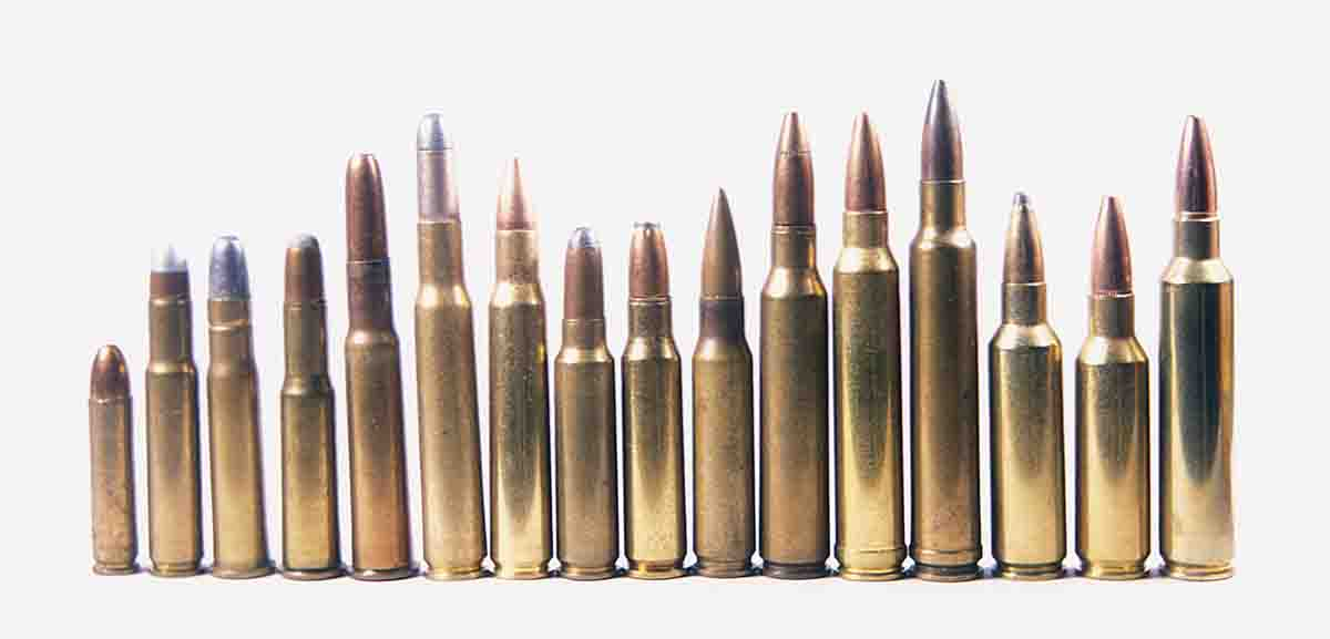 American .30-caliber smokeless powder cartridges include (left to right): the .30 Carbine, .30 Remington, .30-30 Winchester, .303 Savage, .30-40 Krag, .30-03, .30-06, .300 Savage, .307 Winchester, .308 Winchester, .30 Newton, .300 Winchester Magnum, .300 Weatherby Magnum, .300 Winchester Short Magnum, .300 Remington Short Action Ultra Mag and .300 Dakota.