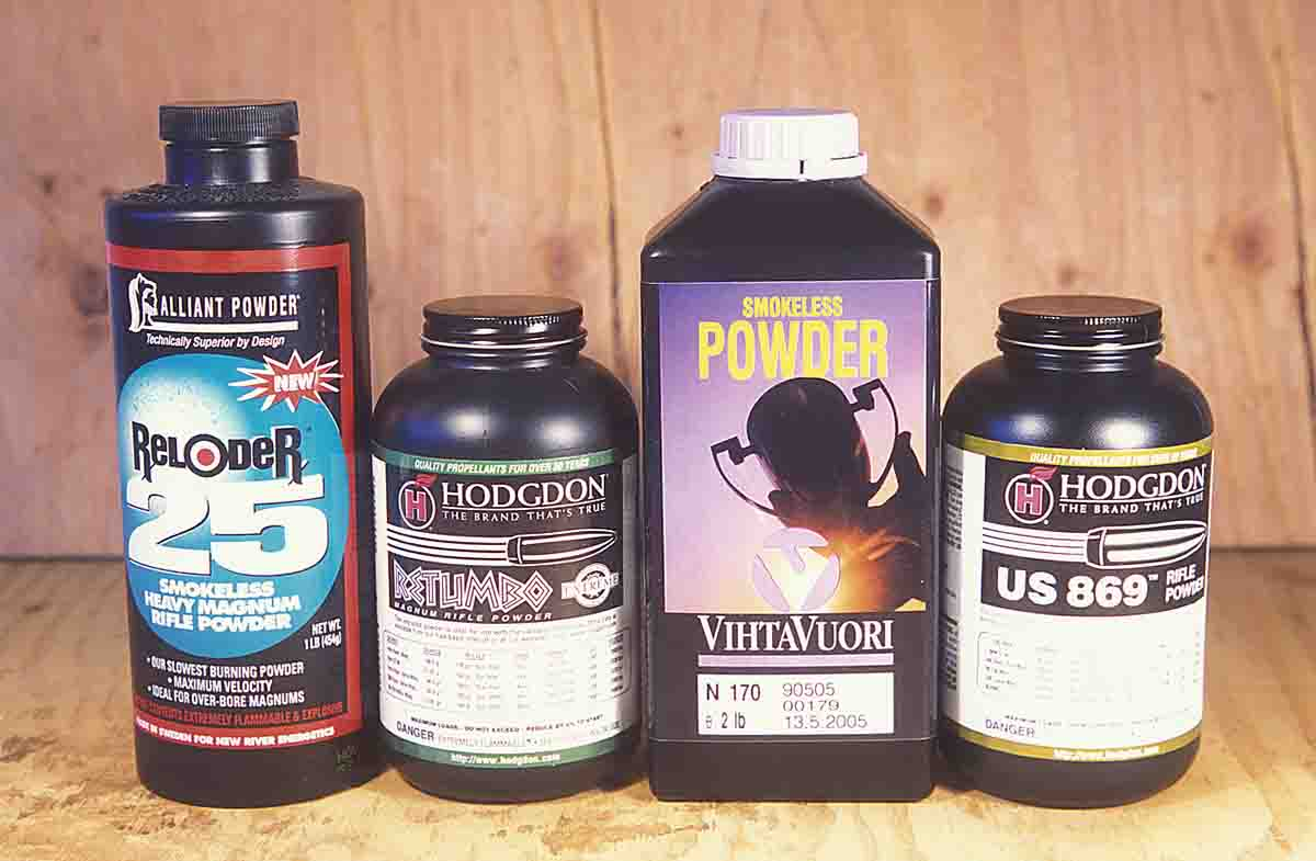 These powders were introduced to improve performance in existing, large-case-capacity cartridges: Reloder 25, Retumbo, VV-N170 and H-869.