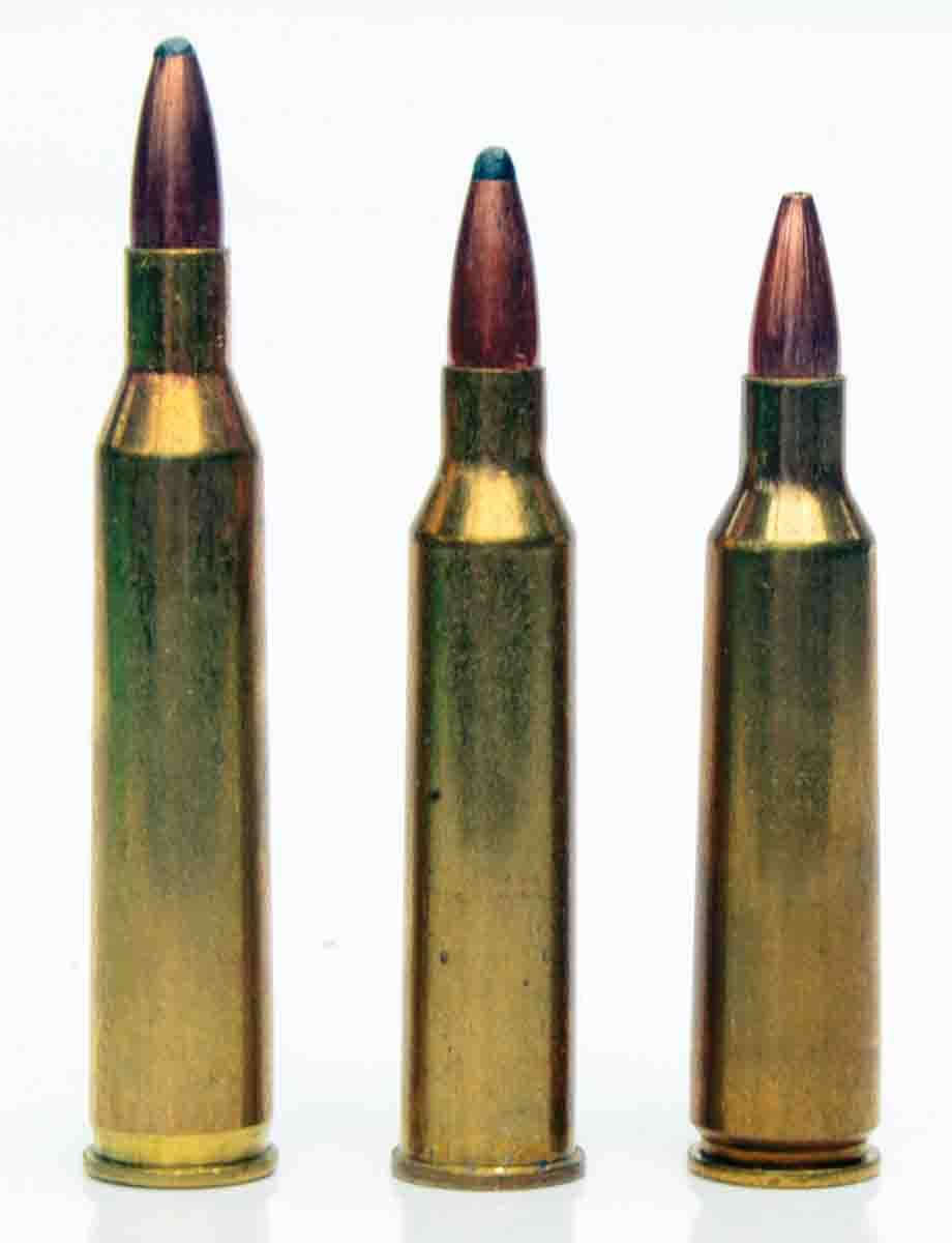 The .225 Winchester (center) is not as fast as the .220 Swift (left) it replaced or the .22-250 (right) that was largely responsible for its demise, but that does not prevent it from being a darned good varmint cartridge.