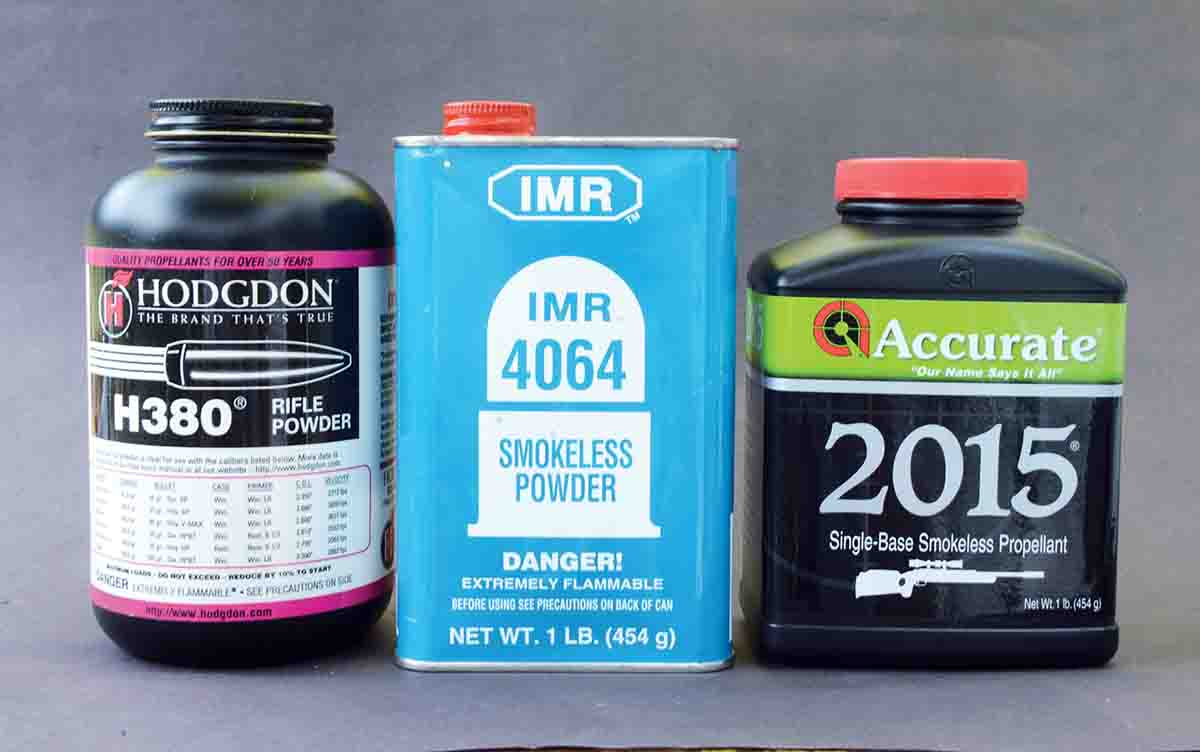 Hodgdon H-380, IMR-4064 and Accurate 2015 were among the powders Layne used to handload the .225 Winchester.