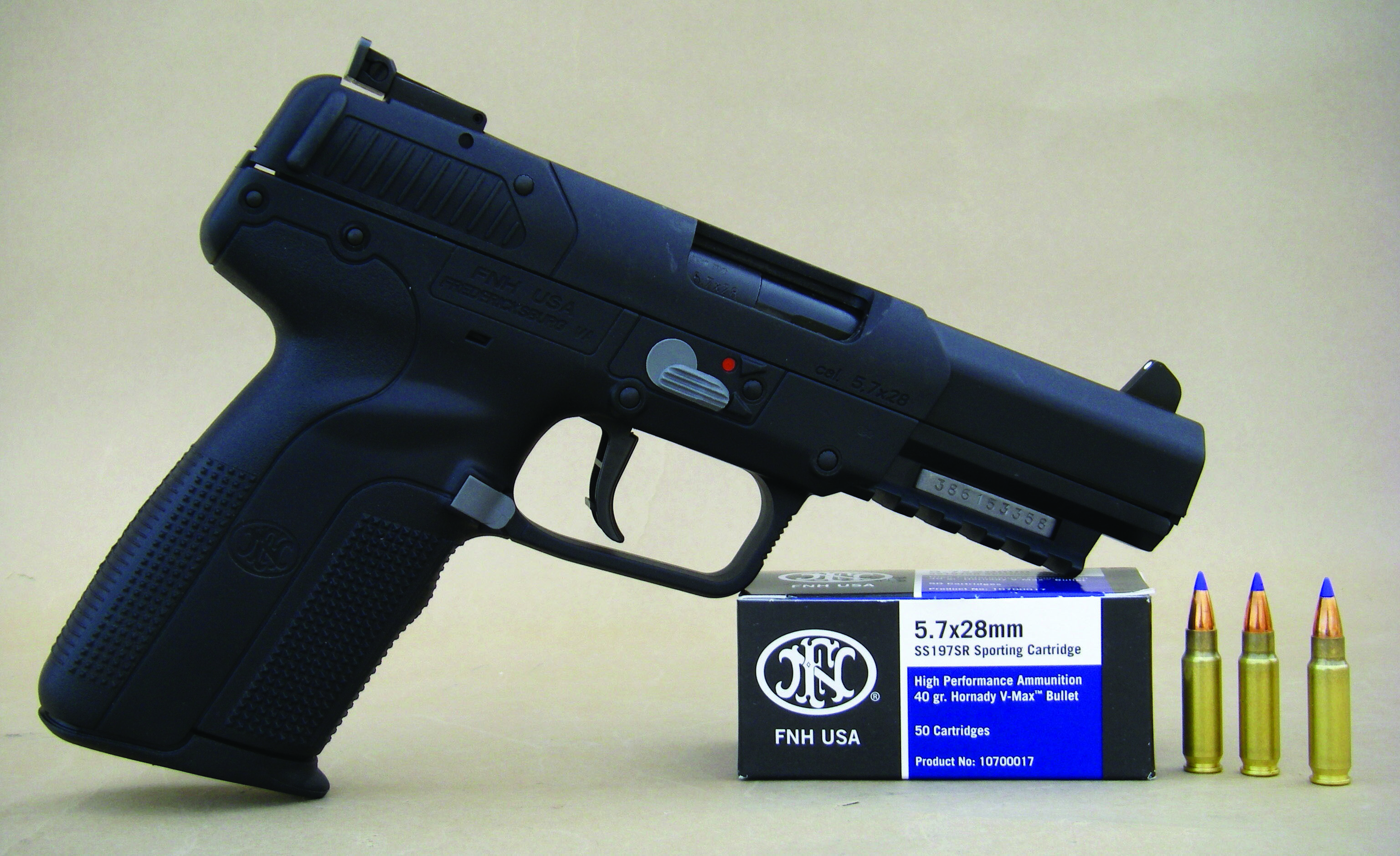 The 5.7x28mm cartridge is housed in this FN-manufactured Model Five-Seven USG autoloading pistol.