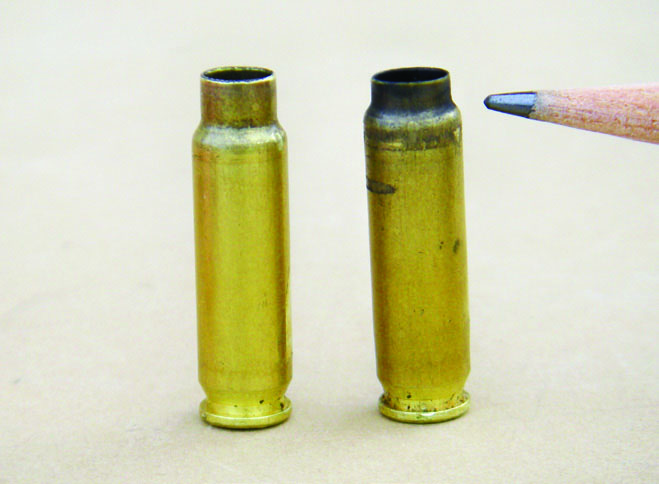 Powder selection for the 5.7x28mm is critical. The case on the right was fired with a too slow burning propellant. Note how the shoulder is moved forward, due to the action unlocking while pressures were still at work.
