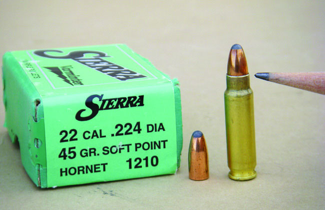 The Sierra 45-grain softpoint Hornet bullet does not have a crimp groove but should still receive a light to medium crimp.