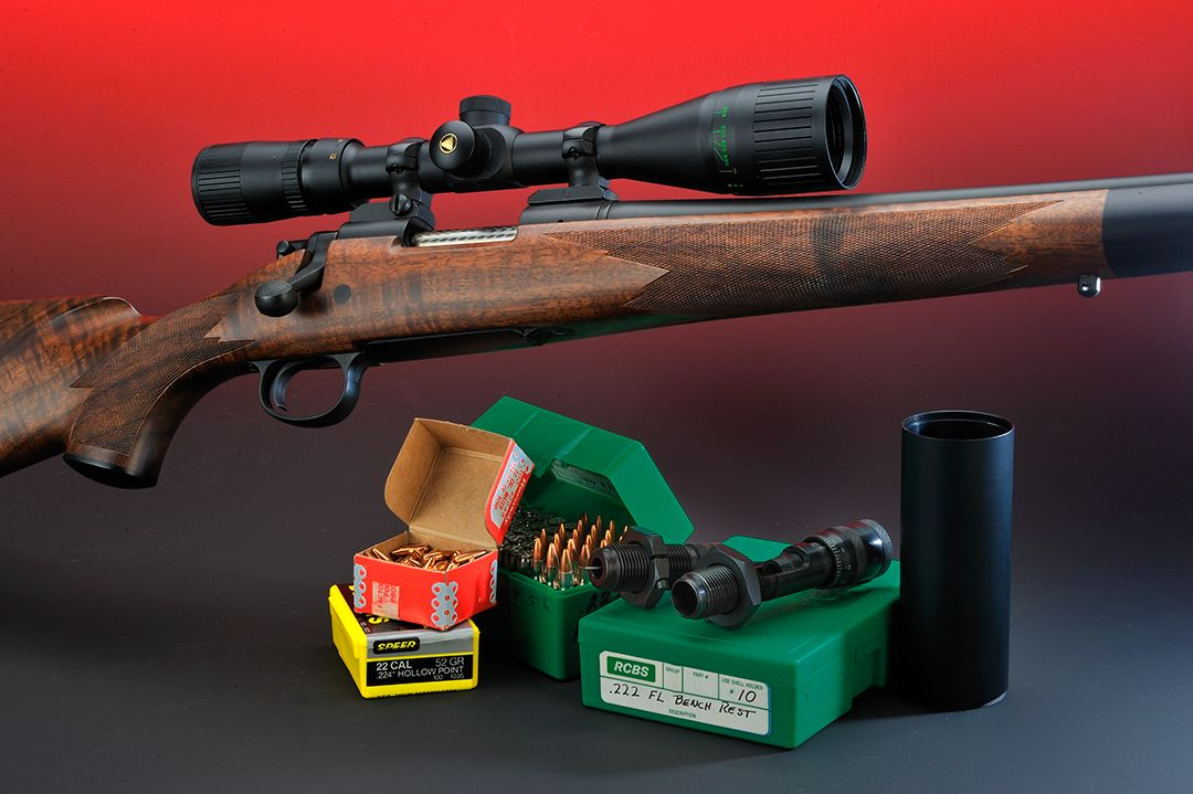 Stan used this Custom Shop Model 700 in all testing of the .222 Remington. This rifle is the equivalent of the typical Grade 1 that Remington still makes. The tube on the right is a sunshade extension that is mounted on the scope to cut down on barrel mirage and sun glare.