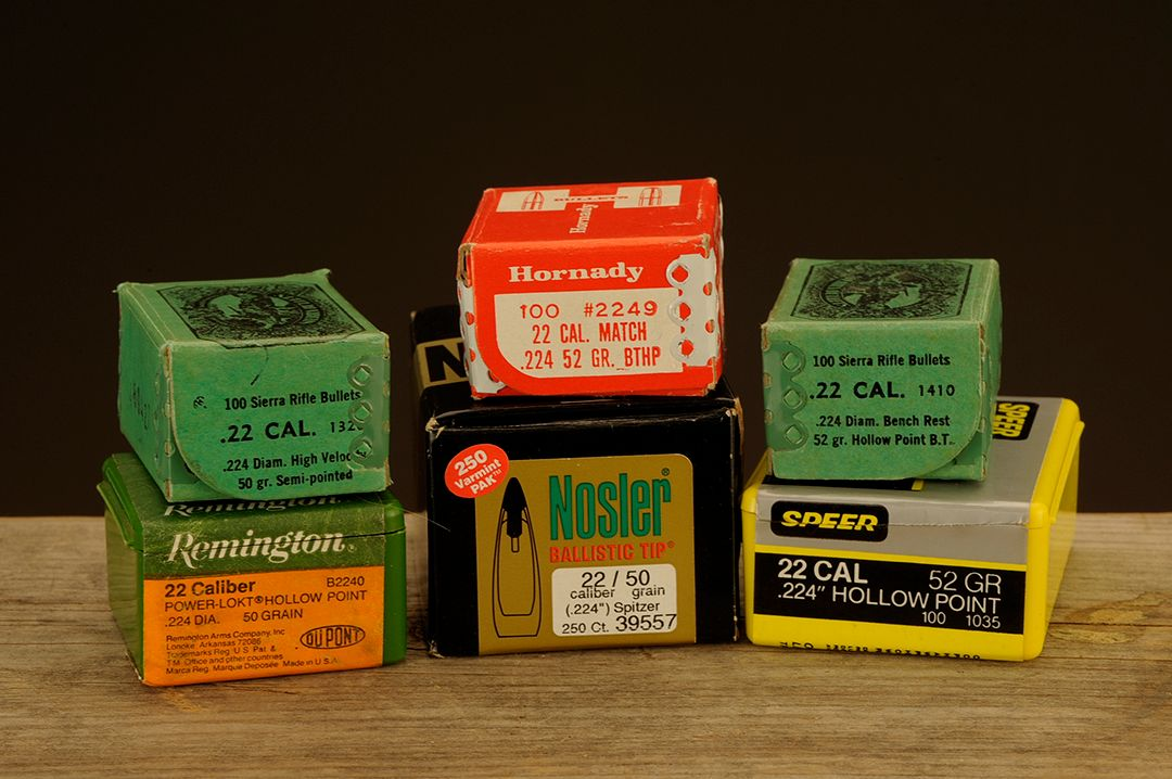 For most .22 calibers Stan has used in both commercial and wildcat versions, he found the best accuracy in the 50 to 52-grain range. He used these bullets in testing.