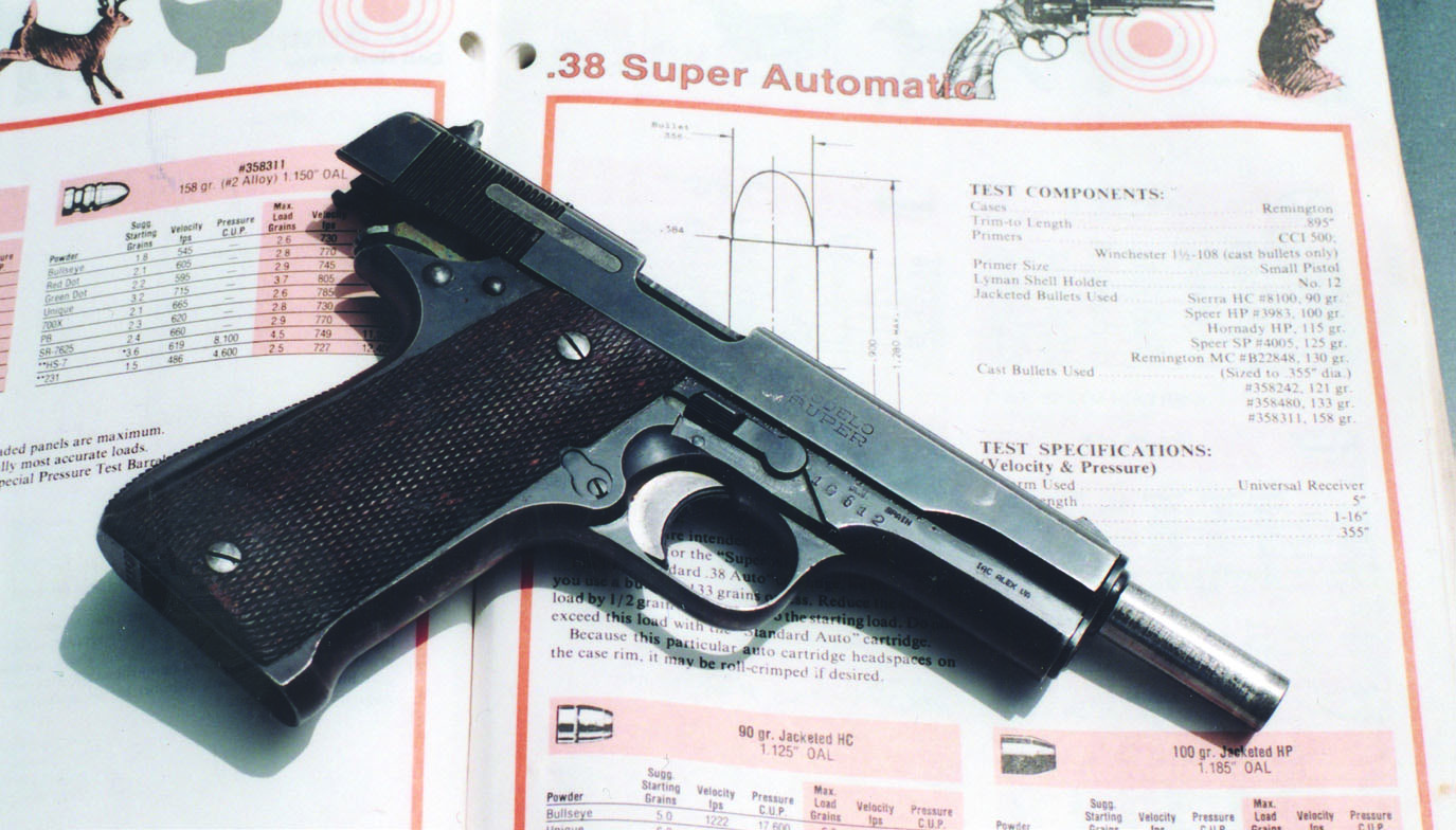As a basis for procedure, we began our trials by consulting data for the .38 Super. Next, we interpolated modern experience gained in loading the .38 Super.