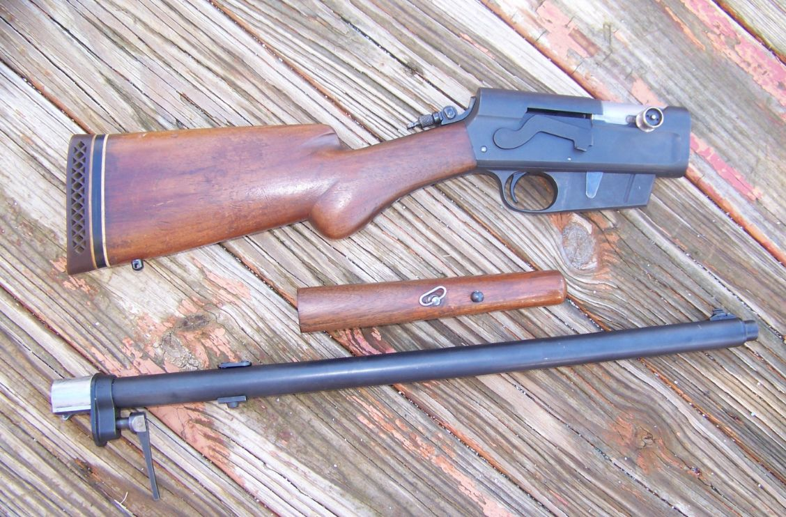 This is the Remington rifle broken down. A takedown rifle can be handy when traveling