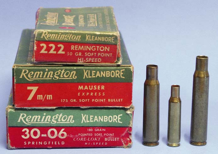 It has been claimed manytimes that the .222 Remingtonis a scaleddown.30-06 (right), but the .222's proportions are much closer to the 7x57mm Mauser (left).