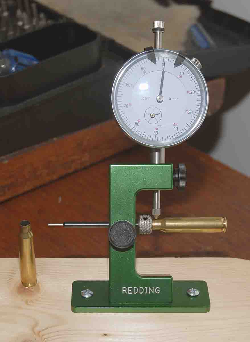 Neck thickness was checked with a Redding gauge.