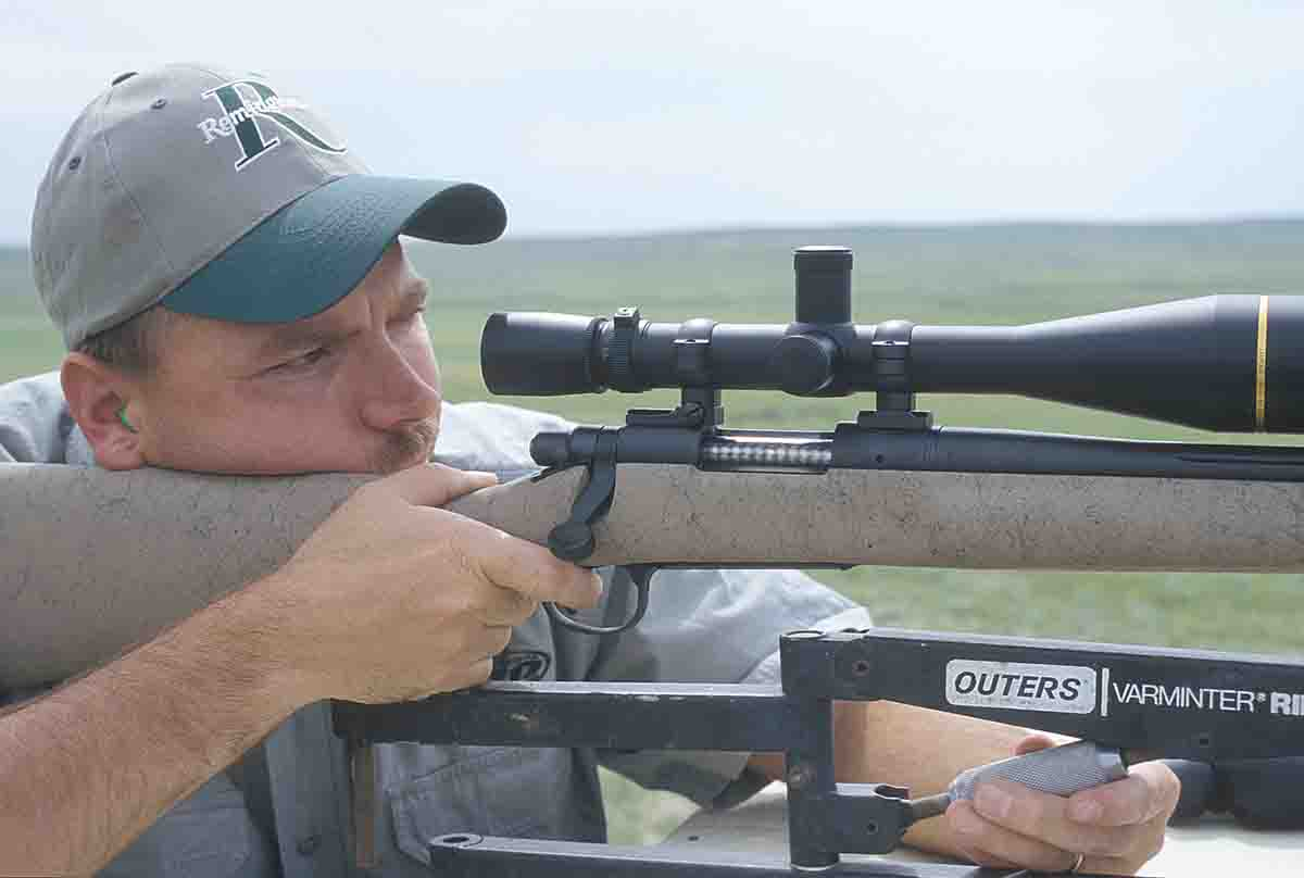 Remington's Eddie Stevenson gives a XR-100 Rangemaster .204 Ruger a workout on prairie dogs. This rifle is topped with a Leupold VX-III 6.5-20x scope, a great combination.