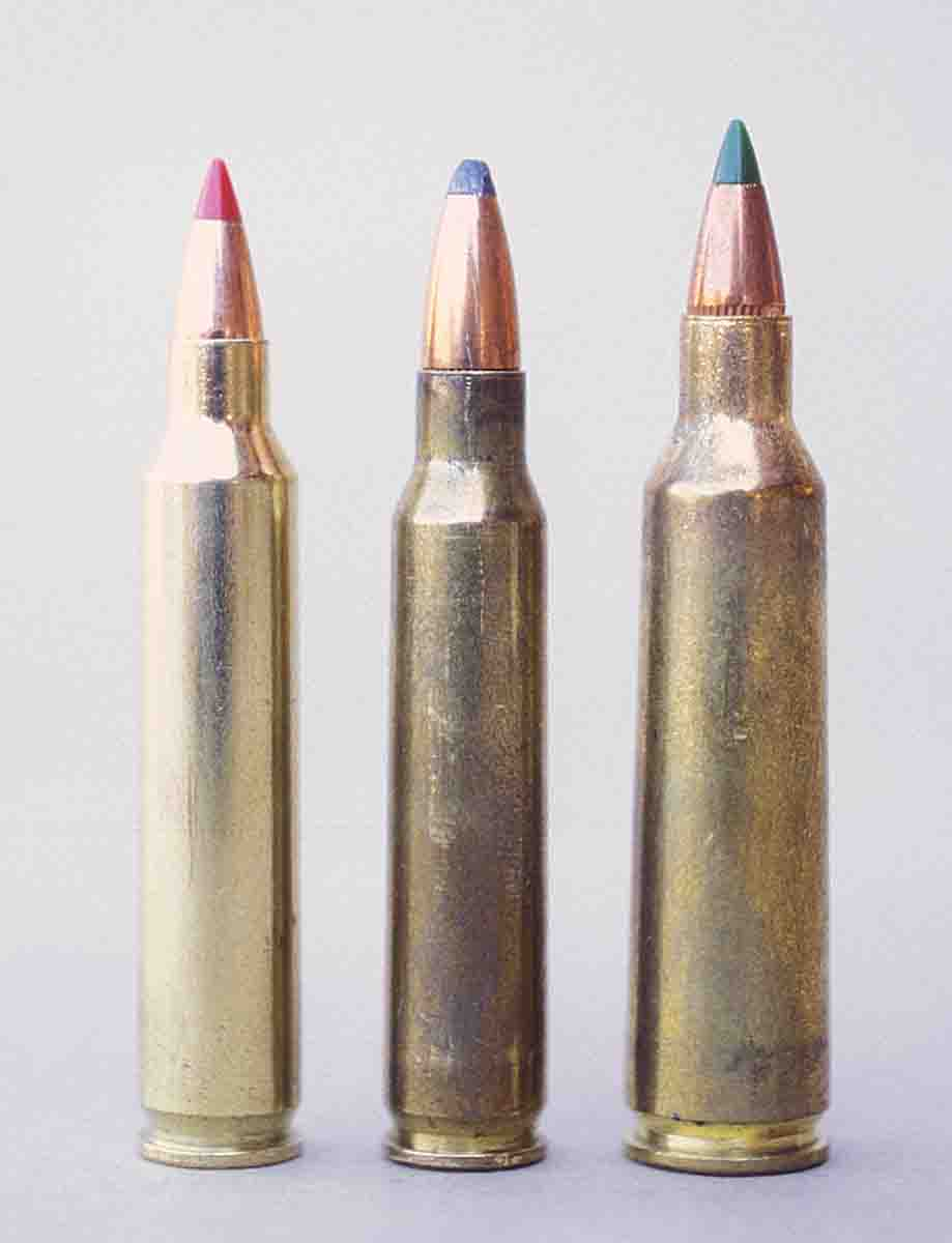 The .204 Ruger (left) is shown with the .223 Remington and .22-250 Remington.