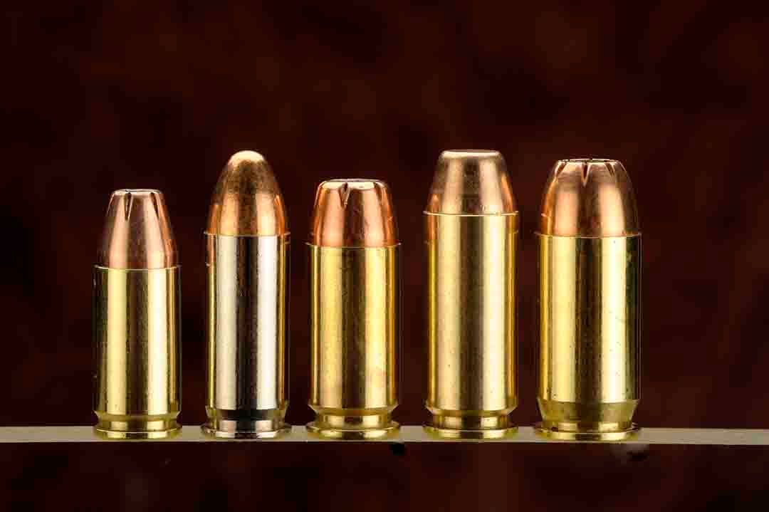 From left to right, we have some of the more popular semi-auto cartridges for handloading.   The 9mm, .38 Super, .40 S&W, 10mm Auto and the .45 ACP.