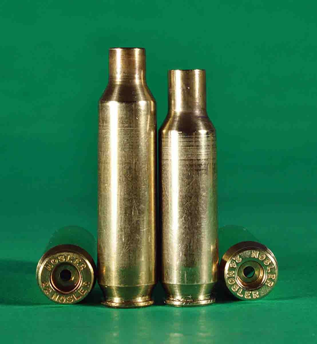 The .24 Nosler (right) was derived from the .22 Nosler.
