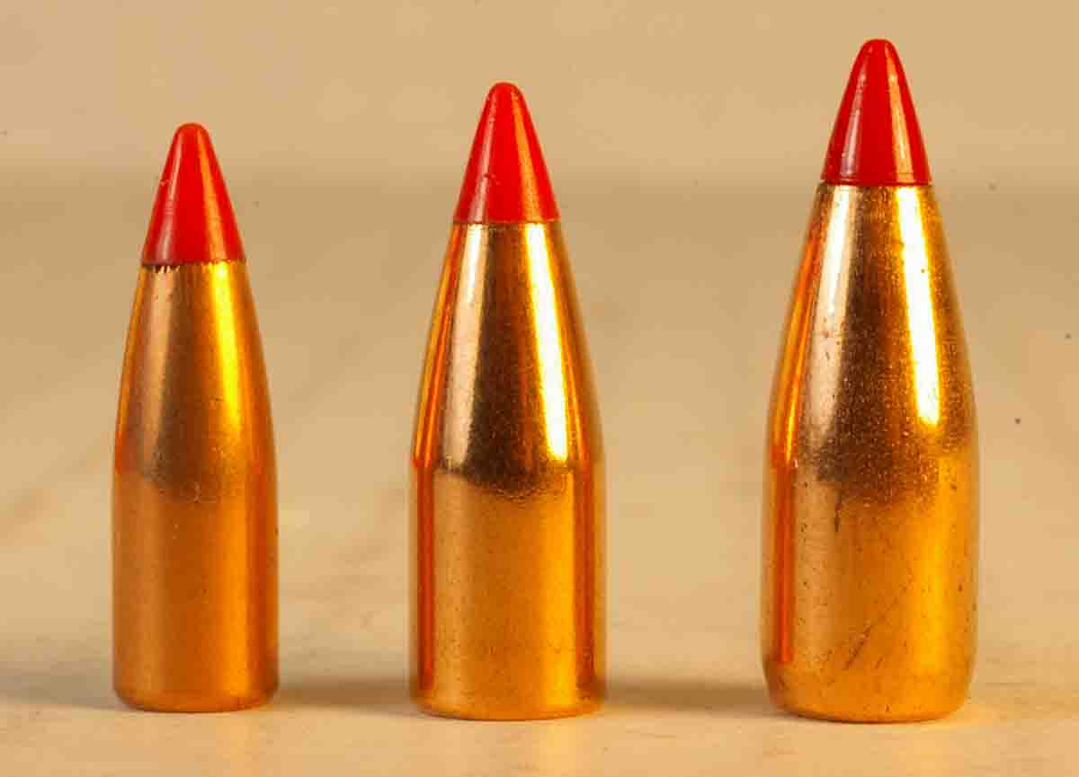 The .17-caliber, 20-grain V-MAX (left) is not that much smaller than the .20-caliber, 32-grain V-MAX (center) and Hornady's .22-caliber, 40-grain V-MAX (right).