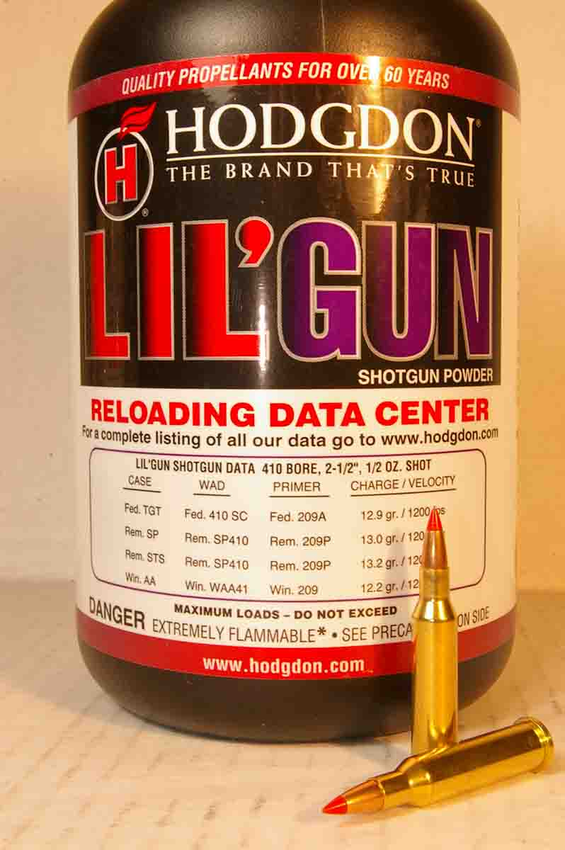 Hodgdon Lil'Gun was the best powder tried for high velocity and good accuracy in the .17 Hornet.