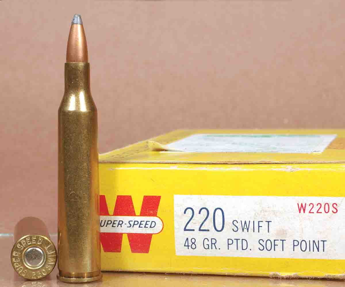 These Winchester 48-grain Super Speed pointed softpoints were Winchester's original load for the .220 Swift. They had  an average speed of 4,000 fps from the 26-inch barrel of a Model 70 Varmint.