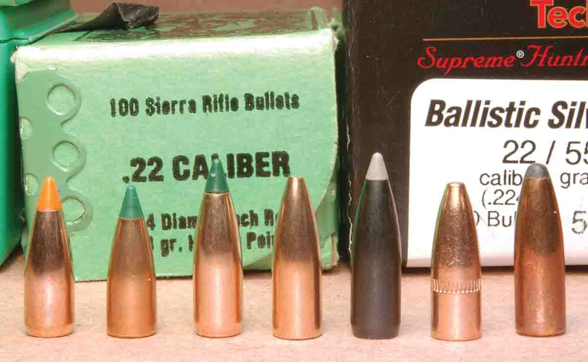 These bullets were fired in a Winchester Model 70 Varmint .220 Swift. From the left, they include: Nosler 40-grain  Ballistic Tip, Sierra 40-grain Blitz­King, Sierra 50-grain BlitzKing, Sierra 53-grain Bench Rest hollowpoint, Combined Technology 55-grain Ballistic Silvertip, Remington 55-grain Power Lokt hollowpoint and Sierra 63-grain Semi-Point.