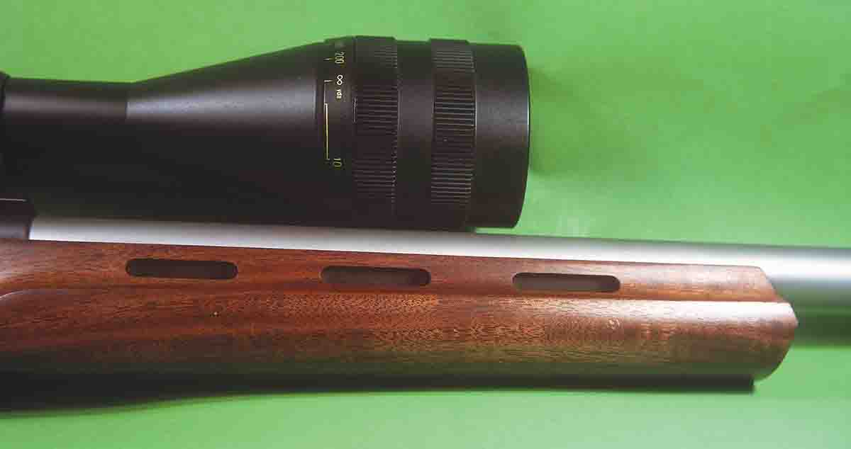 The rifle's forend is ventilated to assist in barrel cooling, a nice touch on a varmint rifle.