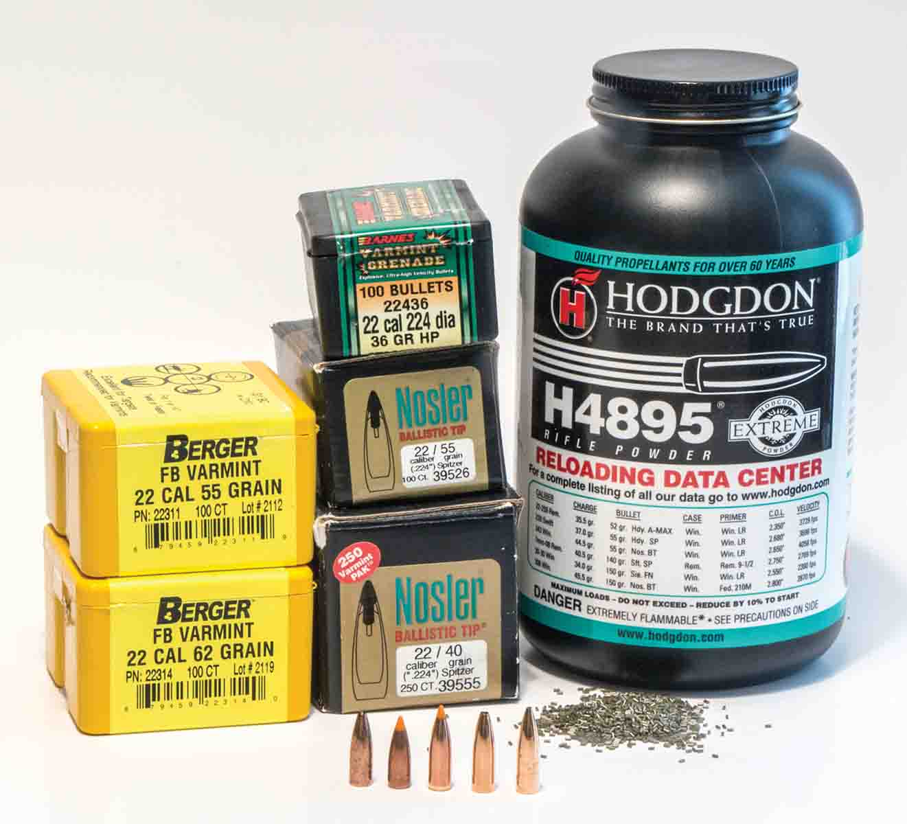 H-4895 works exceptionally well with the .22-250 Remington, as well as many other varmint cartridges, including the .223 Remington and the .243 Winchester.