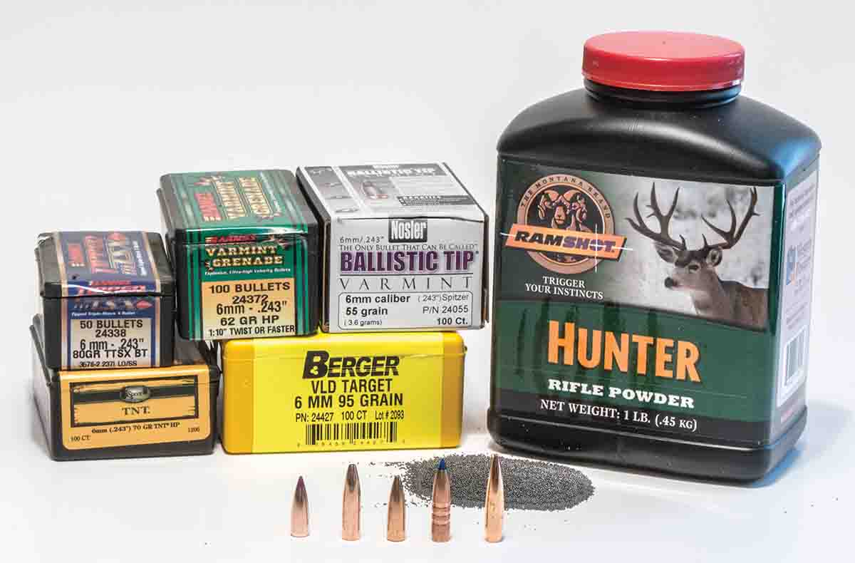 If loading for the .243 Winchester, Ramshot Hunter is a good powder choice that will often give good results with any bullet weight.