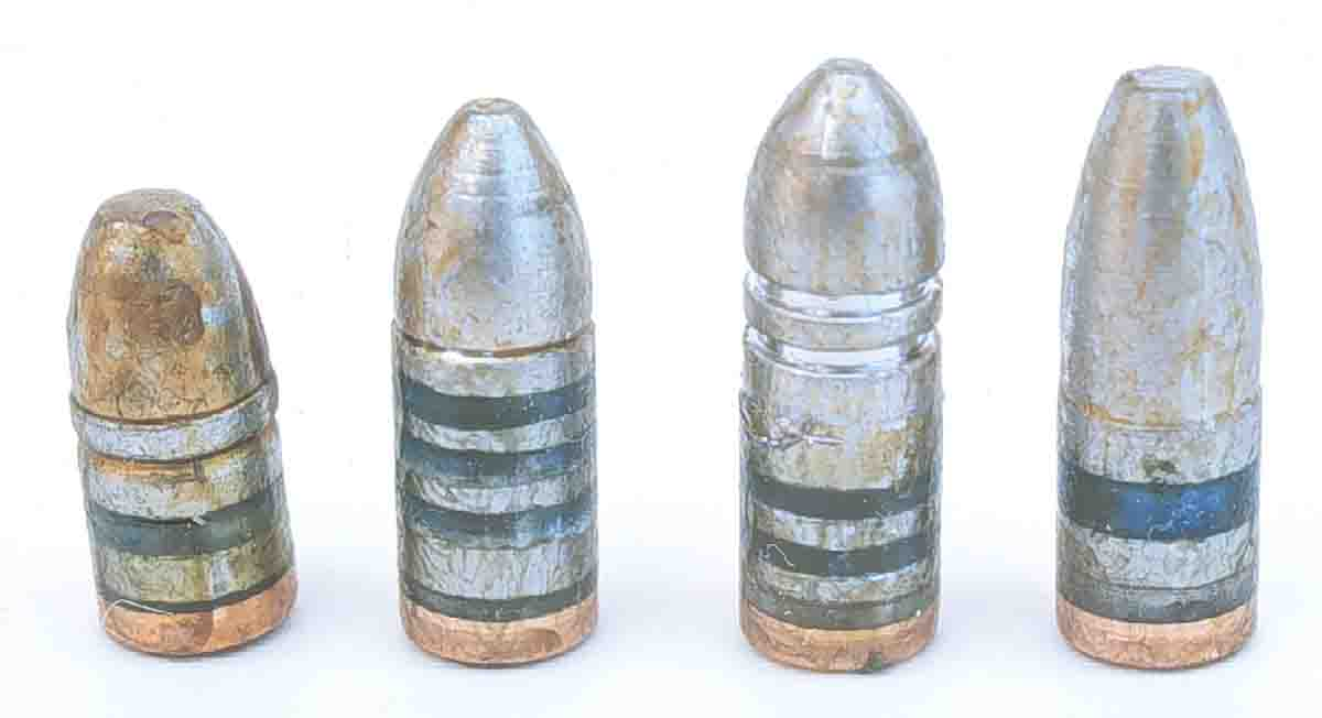 These .22-caliber cast bullets were used in the .223 and .22-250 Remingtons to develop an inexpensive gopher round. From the left, 45-grain NEI, 55-grain NEI, 55-grain Lyman and 55-grain RCBS.